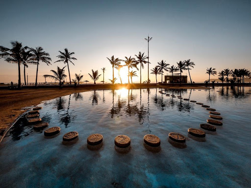 Pool on durban promenade with palm trees at sunrise